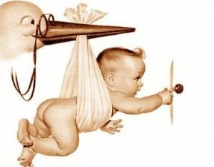 Вышивка Малыш и аист