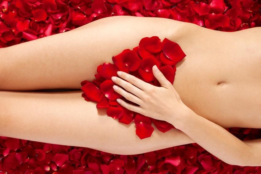 Женское тело и лепестки роз